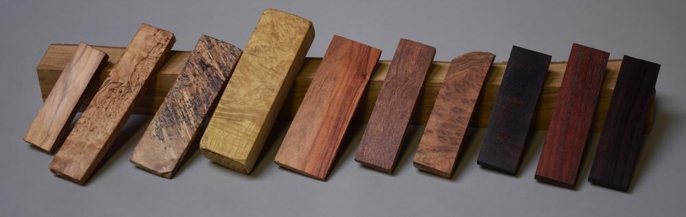 mesheften in diverse houtsoorten